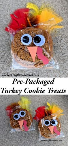 Prepackaged Thanksgiving Turkey Cookies, school treat idea, Thanksgiving school treat, Turkey treat, Turkey craft #Thanksgivingtreat #thanksgivingdecorations