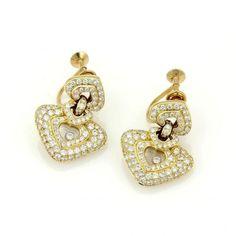 Pre-owned Chopard Happy Diamond 18k Y/Gold 2.50ctw Diamond Hearts Drop... ($5,900) ❤ liked on Polyvore featuring jewelry, earrings, diamond earrings, clip on dangle earrings, screw back diamond earrings, gold clip on earrings and heart shaped diamond earrings
