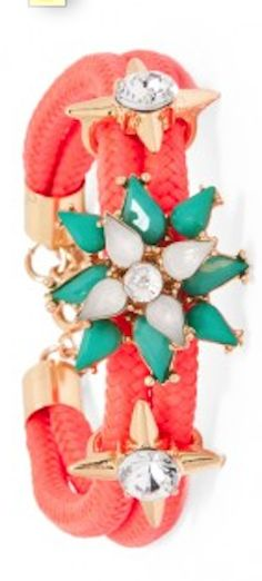 jeweled neon #red cord bracelet http://rstyle.me/~2aPAD