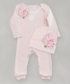 Another great find on #zulily! Blush Pink Floral Lace-Accent Playsuit & Beanie - Infant #zulilyfinds
