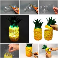 DIY, diy image, diy jewlery, diy crafts, diy photo, diy picture http://www.womans-heaven.com/diy-pineapple-lamp-from-plastic-bottles/