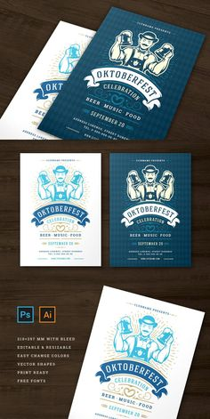 Oktoberfest party flyer or poster vintage typography editable template design invitation beer festival celebration. Germany man holding beer mug symbol. Features: • PSD (Photoshop) files • Ai (Illustrator) files – CS2 version • 2 Color themes flyer design • Print ready • 300dpi • CMYK • 210x297mm print size 3mm bleed • Editable text