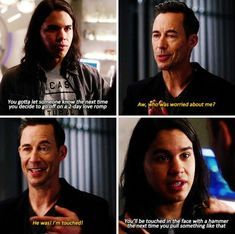 """Who was worried about me?"""" - HR and Cisco Justice League Characters, Flash Characters, Supergirl 2015, Supergirl And Flash, The Flash Cisco, The Flash Season 3, Flash Funny, The Flash Grant Gustin, Cw Dc"""