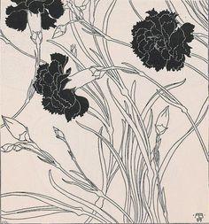 "zombienormal: "" Carnations, Adolf Böhm (signed 1899), Ver Sacrum, 1901. Via. """