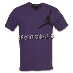 MEN'S MEDIUM NIKE BIG LOGO JORDAN JUMPY JUMPMAN V-NECK T-SHIRT