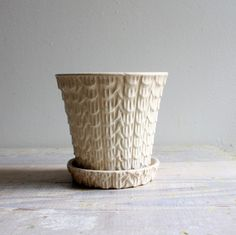 Vintage Feathered Ceramic Pot