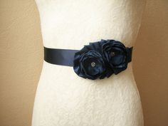 Navy Wedding Sash, Bridal Belt, Bridesmaid Dress Belt, Nautical Wedding, Floral accessory by AijasFlowers on Etsy https://www.etsy.com/listing/265324816/navy-wedding-sash-bridal-belt-bridesmaid