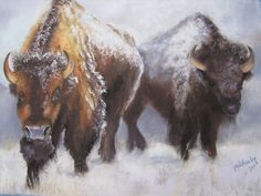 Pastel by Melanie Wheeler. I love bison and their ability to survive and thrive in the Winter.