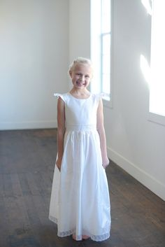 2017 White Satin Flower Girl Dress for Weddings First Communion Dresses for Girls Mother Daughter Dresses Holy Communion Dresses #Affiliate