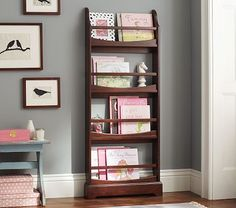 Madison 4-Shelf Bookrack--takes up very little floor space and kids can see the books easily.