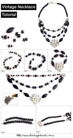 Tutorials | Vintage Black Crystal Necklace | Beading & Jewellery Making Tutorials