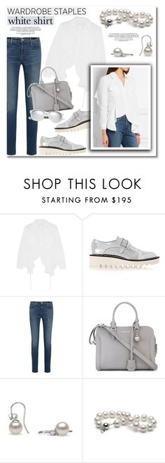 """""""Wardrobe Staples: The White Shirt"""" by pearlparadise ❤ liked on Polyvore featuring Marques'Almeida, STELLA McCARTNEY, Frame Denim, Alexander McQueen, Yves Saint Laurent, whiteshirt, contestentry, WardrobeStaples, pearljewelry and pearlparadise"""