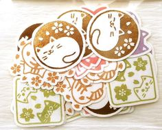 Cats & Cherry Blossoms https://www.etsy.com/listing/186735841/japanese-chiyogami-stickers-cats-cherry #Cats #kitty #flowers #etsy #Japan