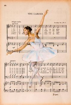 I love these paintings over newspaper etc so pretty! It ballet my fav Book Page Art, Book Art, Music Drawings, Art Drawings, Sheet Music Art, Music Sheets, Etiquette Vintage, Ballet Art, Ballerina Art