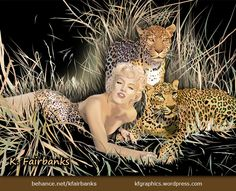 Digital drawing by K. Fairbanks of Marilyn Monroe with Leopards | Media: Illustrator  - View additional art by K Fairbanks here on Pinterest or http://www.behance.net/kfairbanks or http://kfairbanks.deviantart.com/ #Art  #Vector #Illustrator #Artwork #Drawing #DigitalArt #MarilynMonroe #Leopard #CelebrityArt