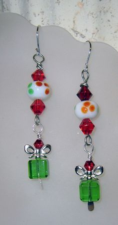 Christmas Earrings The Gift Glass Bead with by Handmadecrafter, $12.00