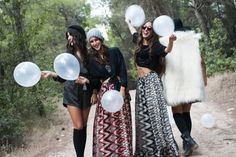 Vasso (Left) : Imala Jumpsuit / Marilena (Center Left) : Hurit Top - Abey Skirt / Giannita (Center Right) : Donoma Top - Abey Skirt / Katerina (Right) : Unega Fur - Flo Bra-Top - Amitola Skirt / Photo by : Theo Vranas