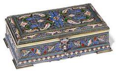 Geometric Flower, Cigarette Box, Casket, Silver Enamel, Turquoise Beads, Bellisima, Decorative Boxes, Red Green, Blue