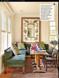 Banquette and table