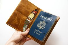 Leather Passport Wallet in Distressed Honey on Etsy, $58.00