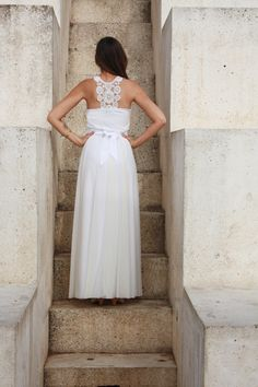 Romantic strapless wedding dress with emroidery pattern. $250.00, via Etsy.