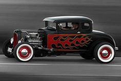 Every hot rod needs flames. Motorcycle Paint Jobs, American Graffiti, Traditional Hot Rod, Classic Hot Rod, Ford Classic Cars, Us Cars, Race Cars, Hot Rod Trucks, Vintage Trucks
