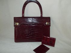 Stunning vintage 1960's red wine crocodile handbag with matching accessories by VintageHandbagDreams on Etsy