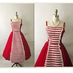 50's Red Velvet Dress // Vintage 1950's by TheVintageStudio