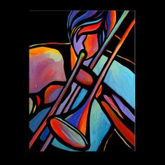 """18"""" x 24"""" Original Acrylic Painting Abstract Musician Trombone Player Music by Mike Daneshi"""