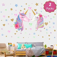 QISHENG 2 Sheets Large Size Unicorn Wall Decals Stickers Removable Unicorn Wall Stickers Stick & Peel Decor for Gilrs Kids Bedroom Nursery Birthday Party Favor with Stickers of Heart and Stars Baby Room Wall Decals, Unicorn Wall Decal, 3d Mirror Wall Stickers, Removable Wall Stickers, Flower Wall Stickers, Nursery Room Decor, Wall Decal Sticker, Kids Bedroom, Bedroom Ideas