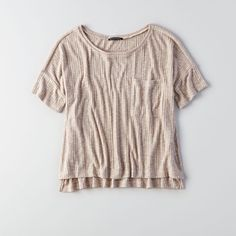 AE Ribbed Pocket T-Shirt Oatmeal ($25) ❤ liked on Polyvore featuring tops, nude, ribbed t shirt, boxy tee, american eagle outfitters t shirts, rib tee and side slit tee