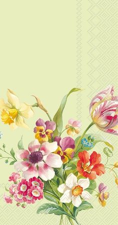 IHR Welcome Spring Green Floral Printed 3-Ply Paper Guest Towels Wholesale BF600620