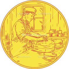 Swiss Cheesemaker Traditional Cheese Circle Drawing Vector Stock Illustration.  Drawing sketch style illustration of a Swiss cheesemaker making traditional cheese block viewed from the side set inside circle. #illustration #SwissCheesemaker