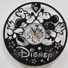 Mickey and Minnie vinyl wall clock Mickey Mouse vinyl by Vinyra