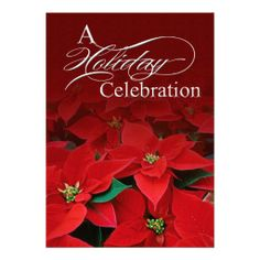 Red Poinsettia Holiday Celebration Invitation