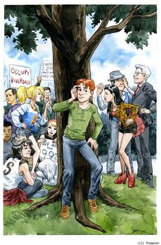 Jill Thompson cover for the upcoming issue of Archie in which the Occupy movement gets going in Riverdale. This is an actual thing.