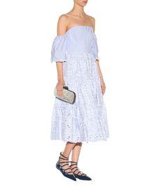 mytheresa.com - Off-The-Shoulder Cotton Eyelet Dress - Erdem   mytheresa - Luxury Fashion for Women / Designer clothing, shoes, bags