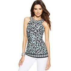 silver leopard print embellished halter