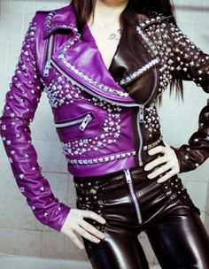 studded, leather, jacket, studs, toxic vision, hot, fashion, alternative, purple, multicoloured,