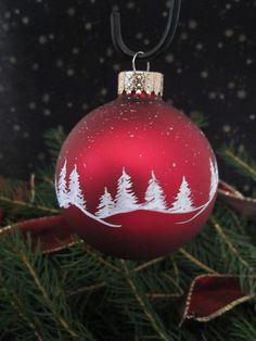 Handpainted Glass Christmas Ornament.                                                                                                                                                                                 More