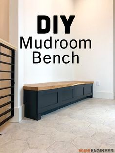 Our mudroom bench needed to be built into this 88 inch nook. One side was up against the wall completely so I knew we would need to add a filler strip so that the drawer would be able to pull out. We also wanted recessed toe-kick since we plan on[. Bench With Drawers, Built In Bench, Diy Bench With Storage, Built In Lockers, Diy Drawers, Home Improvement Projects, Home Projects, Diy Furniture, Concrete Furniture
