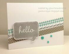 Hello Card using washi tape.   www.stampinheaven.ctmh.com