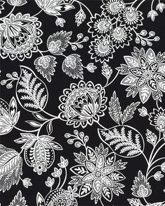 Calais - Jacobean Floral - Black