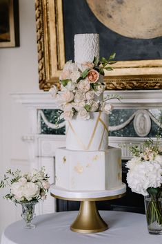 Wedding at Oxfordshire country house wedding venue- Aynhoe park with 4 tier floral wedding cake with gold accents and geometric lines by UK cake designer- MonAnnie. Featuring a spray of blush and peach sugar flowers| Table flowers by Emma Soulsby | Planning by Mirabella Weddings | Photography by Rebecca Goodard French Chateau Wedding Inspiration, Destination Wedding Inspiration, Garden Wedding Inspiration, Wedding Ideas, Wedding Cake Designs, Wedding Cake Toppers, Wedding Cakes, Blush Wedding Flowers, Floral Wedding