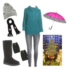 """The Christmas Tree Lighting in Rockefeller Center"" by bearpawstyle on Polyvore featuring H&M, Chelsea28 and ShedRain"