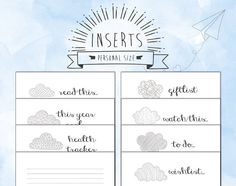 Personal size INSERTS for personal Filofax di TheLittlePlannerShop