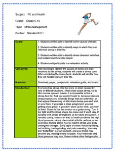 physical education lesson plan format pdf