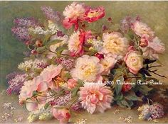 Victorian Rose Prints Gallery : Victorian Peonies and Lilacs Print Raoul de Longpre Peony Lilac Flower