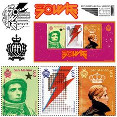 Jonathan Barnbrook, the designer of Blackstar's cover, has created a set of David Bowie stamps for San Marino