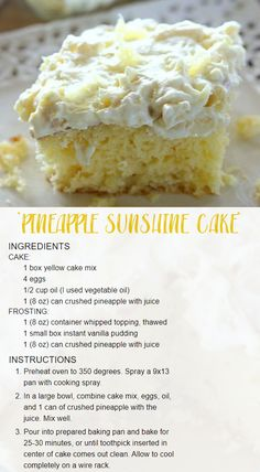 A light and fluffy pineapple-infused cake, topped with a sweet and creamy whipped cream frosting. This cake is always a crowd pleaser! Pineapple Sunshine Cake Recipe, Pineapple Desserts, Crushed Pineapple Cake, Pinapple Cake, Easy Pineapple Cake, Eating Pineapple, Hawaiian Desserts, Pineapple Angel Food, Pineapple Cupcakes